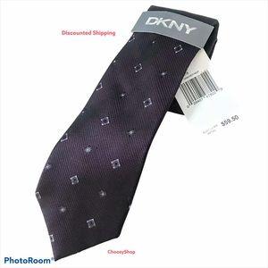 NWT DKNY Eggplant Plum Purple & Lavender Silk Tie